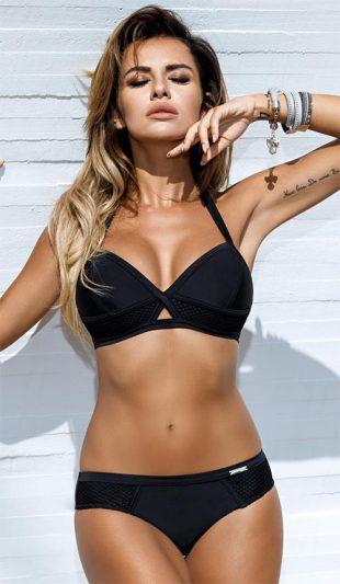 Černé luxusní dámské dvoudílné push-up plavky Gaby