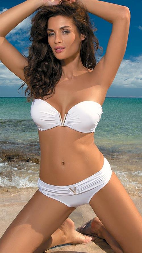 Sexy bílé plavky bez ramínek