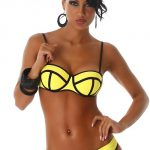 Žluté dámské dvoudílné plavky s černým lemováním