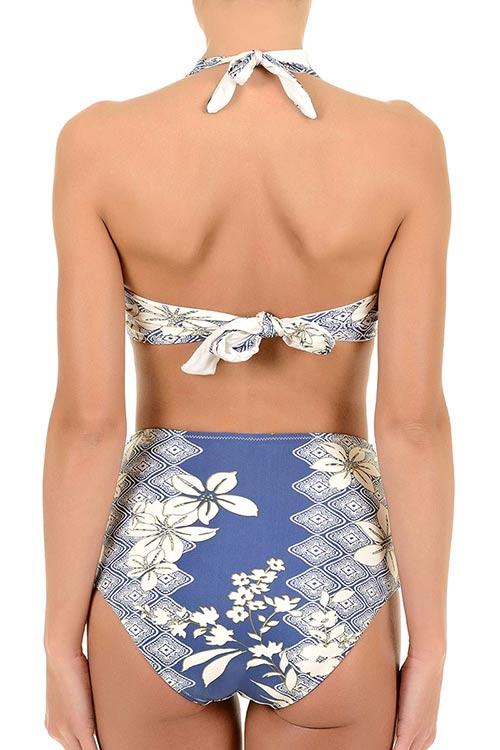 Modré dámské plavky s vysokým pasem