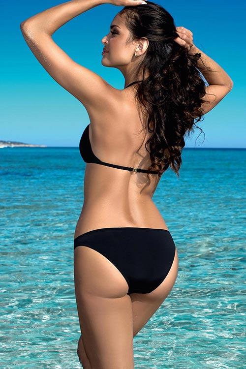 Černé plavky se zavazováním za krkem