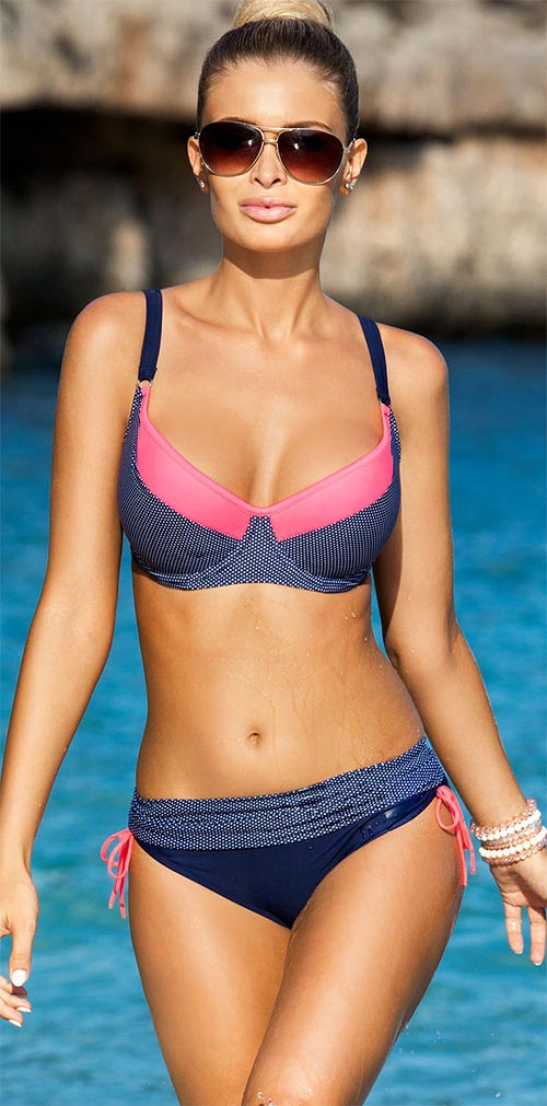 Modro-růžové vyztužené plavky