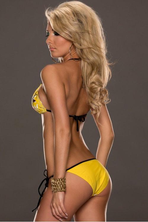 Žluté plavky s barevným potiskem