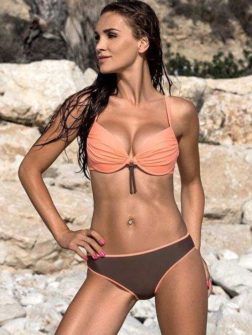 Luxusní hnědo-oranžové push-up plavky LORIN Lena 2015