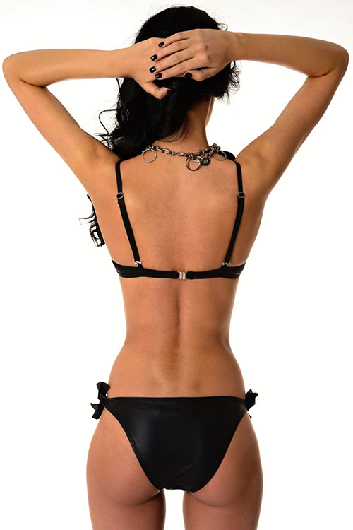 Černé dvoudílné plavky Mia s nařasenými košíčky
