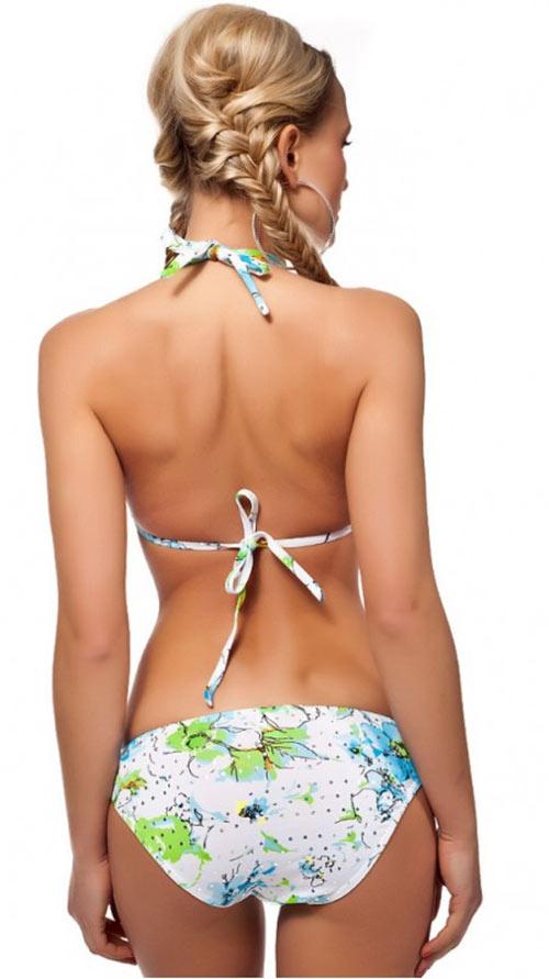 Bílé 2 dílné plavky s tyrkysovým potiskem a krátkým šátečkem