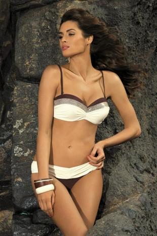 Krémovo-hnědé bardot dvoudílné plavky Marko Stella Africa-Avorio