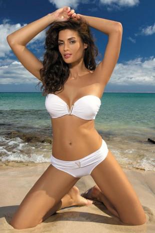 Bílé glamour dvoudílné plavky Marko M-323 Shanon Bianco