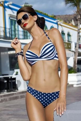Retro dvoudílné modro-bílé plavky Karakas s kosticemi