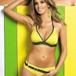 Dámské plavky Papaya Obsessive ve žluté barvě s tmavě zeleným dílem
