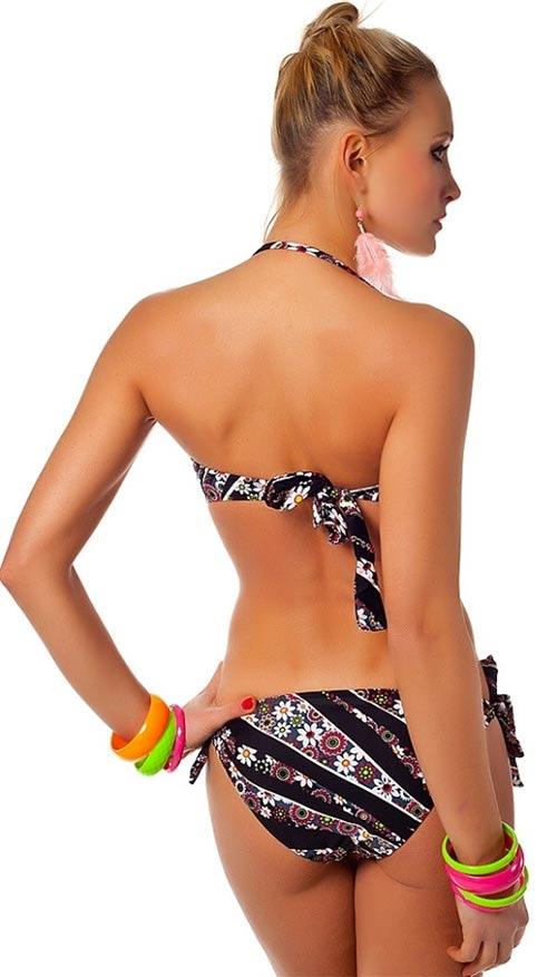 Dvoudílné plavky se zavazováním za krkem
