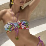Italské luxusní květované plavky Abella bez kostic