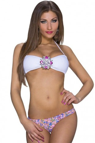 Bílo růžové dámské dvoudílné plavky s velkou broží