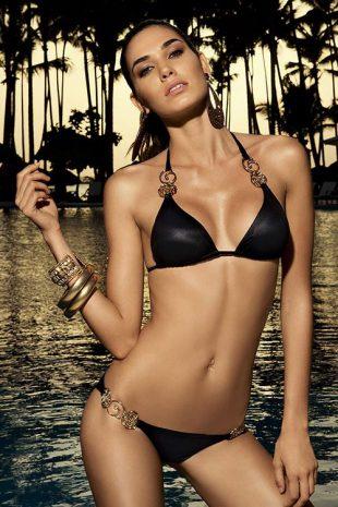 Černé lesklé dvoudílné plavky - kolekce Česká miss 2016