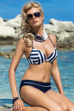 Modrobílé dámské plavky Ewlon Victoria s odnímatelnými push-up vycpávkami