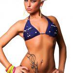 Tmavě modré dámské plavky s trojúhelníkovými košíčky