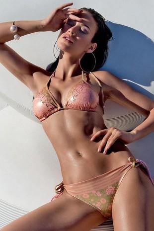 Zlaté dámské luxusní dvoudílné plavky Anzia