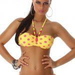 Žluto růžové puntíkované dvoudílné sexy plavky
