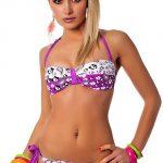 Hravé mladistvé fialovo-bílé dámské plavky Japan Style