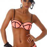 Svítivě oranžové dámské dvoudílné plavky - bikiny s černým lemováním