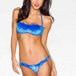 Azurově modré dámské plavky trendy sametového vzhledu