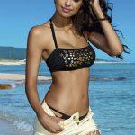 Moderní černozlaté bandeau plavky Lorin se zavazováním za krkem