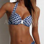Modré kostkované push-up plavky Audrey