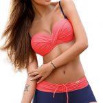 Push-up bardot plavky s boxerkovými kalhotkami