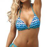 Dámské dvoudílné modré krajkové plavky