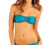 Tyrkysové bandeau plavky bez výztuže Litex