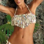 Plavky s třásňovou bandeau podprsenkou