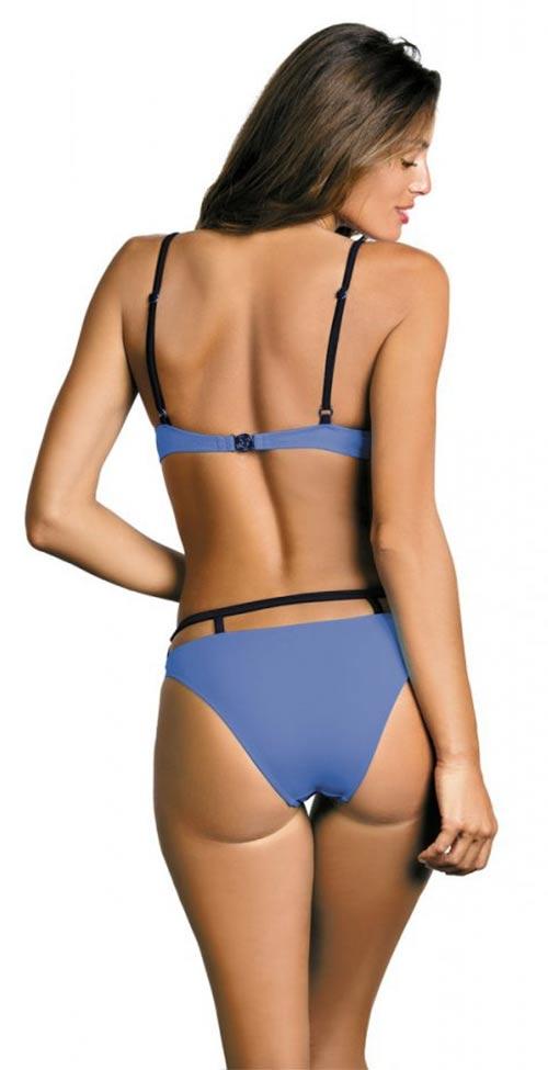 Modré dvoudílné plavky s doplňujícími pásky