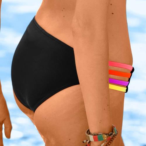 Plavkové midi kalhotky s barevnými šňůrkami na bocích