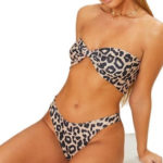 Leopardí bikini set bez ramínek