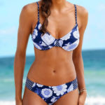 Levné modré dámské dvoudílné plavky