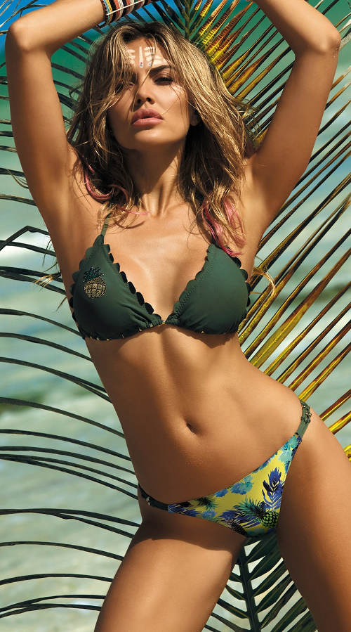 Dámské dvoudílné plavky Barbados Khaki se zlatými detaily