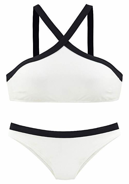Bílé plavky s černým lemem