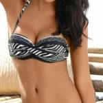 Černobílé bandeau plavky Bruno Banani