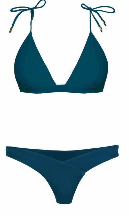 Tmavě modré dvoudílné plavky bez výztuže