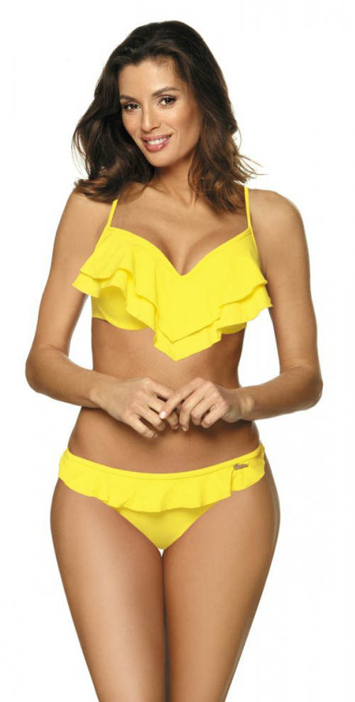 Volánkové plavky žluté barvy