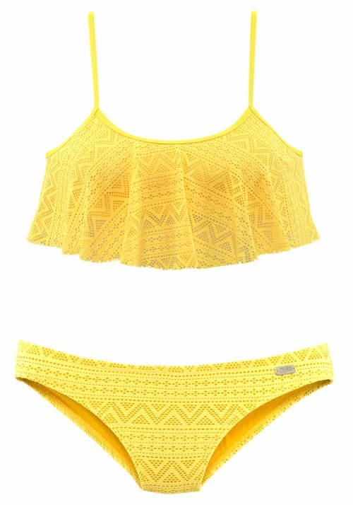 Žluté volánové plavky