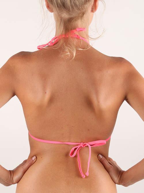 Růžová plavková podprsenka se zavazováním na zádech