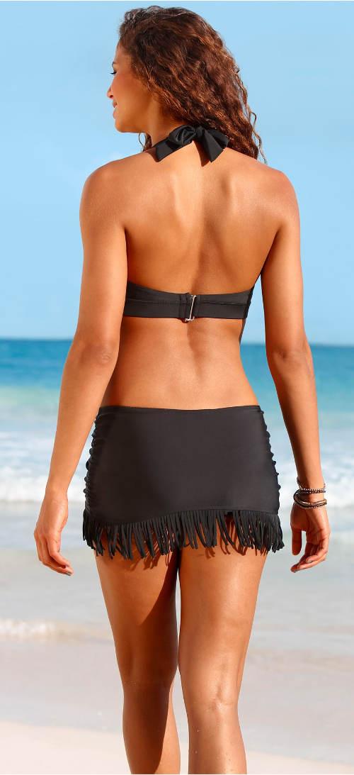Černá koupací sukně s třásněmi