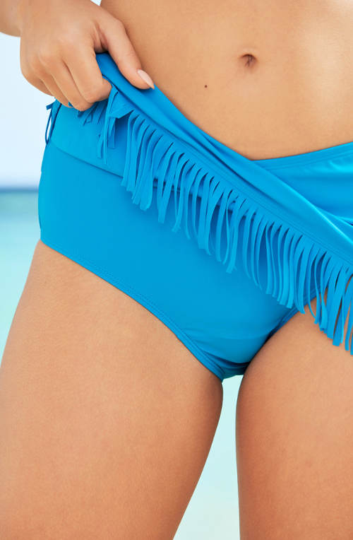 Modrá plavková sukně s všitými kalhotkami