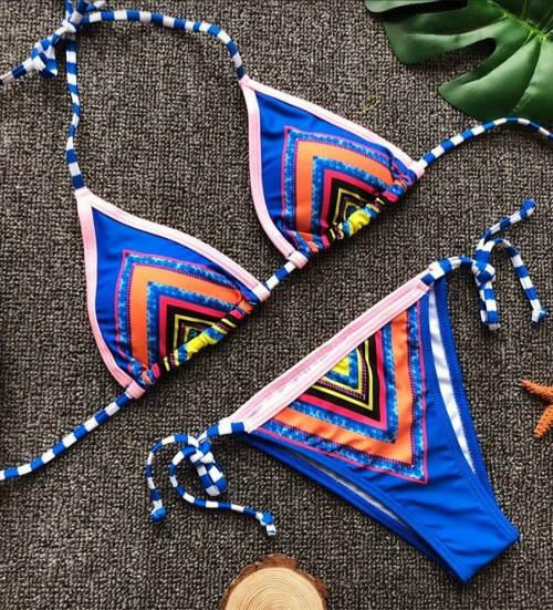 Modré dámské bikiny s barevnými proužky