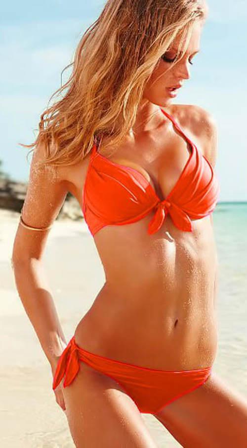 Oranžové dámské dvoudílné plavky s řasením