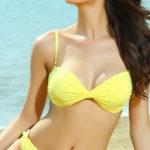 Žluté dvoudílné plavky s odnímatelnými ramínky