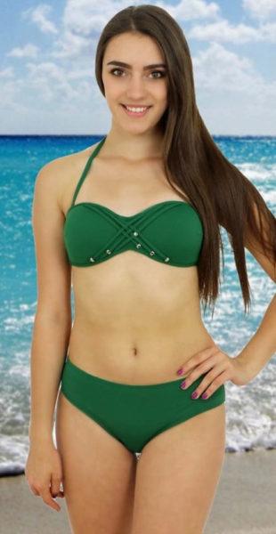 Zelené dvoudílné push-up plavky Rock Star výprodej