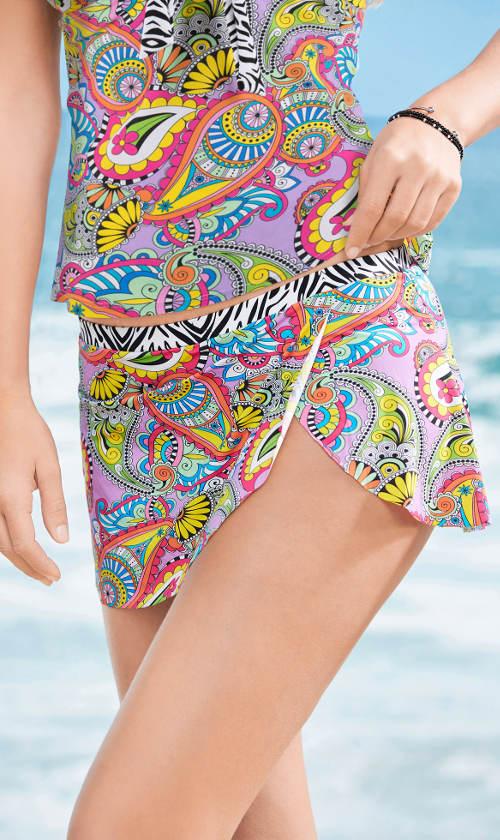 Pestrobarevná plavková sukně s všitými kalhotkami