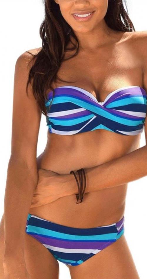 Pruhované dvoudílné bardot plavky s odnímatelnými ramínky